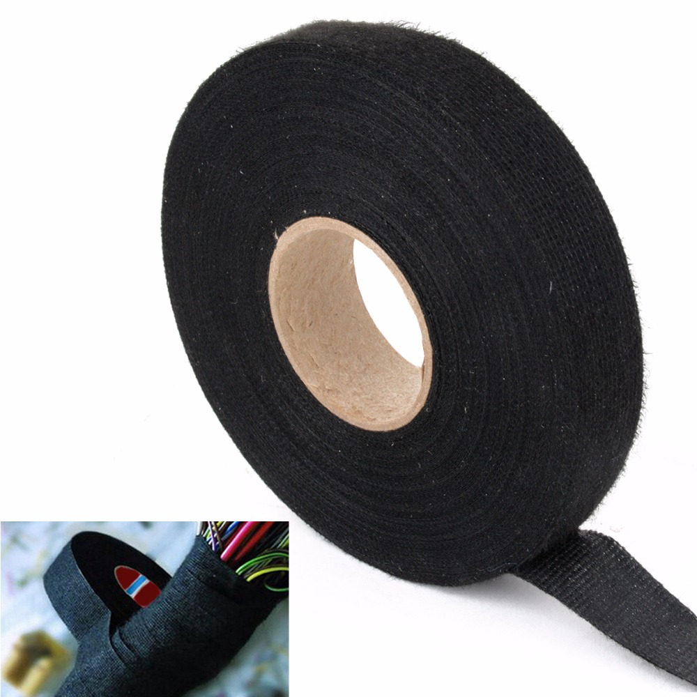 1pc Automotive Wiring Harness Tape Heat-resistant Adhesive Cloth Fabric Tape  Auto Car Looms Protection 19mm x 25m