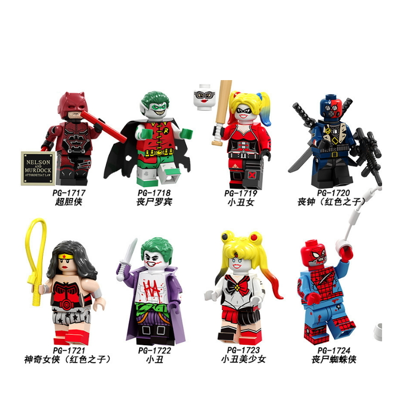 Legoing Building Blocks Daredevil Zombie Robin Deathstroke Wonder Woman Harley Quinn Figures Collection For Children Toys PG8196