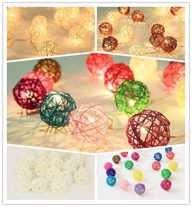 Mixed 20pcs/sets Brown White Multicolor Rattan/Wicker Ball Patio Party String Twinkle Fairy Lights, Wedding Decor