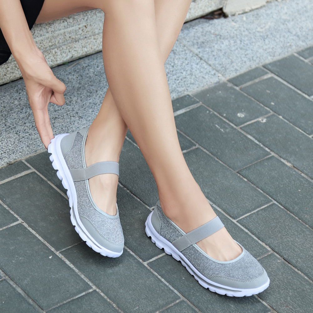 Fashion Shoes Women Falt Casual Sneakers Fitness Shoes Non Slip Breathable Shoes Slip-on Design EVA Mesh Soft Flat Shoes