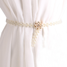 Fashion Waist Elastic Buckle Pearl Women Belts Belly Metal Chains