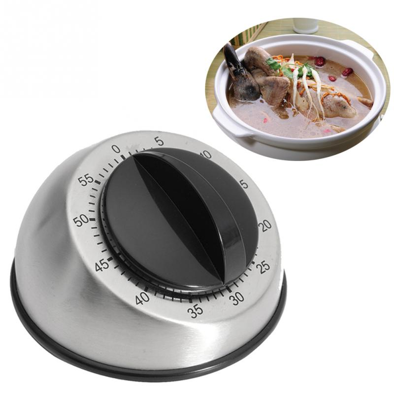1pc Stainless Steel Dome Shape Kitchen Timer 60 Minutes Countdown Mechanical Wind Up Alarm Clock Home Kitchen Co Ng Tools