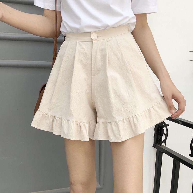 2018 Summer New Cotton Shorts Female Wide Leg Shorts High Waist Shorts Women Elastic Waist Fashion Ruffles Solid Pink Apricot