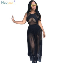 HAOYUAN Black Mesh Romper Dress 2017 European Style Bodycon Party Dresses Summer See Through Tunic Sexy Long Maxi Dress Vestidos