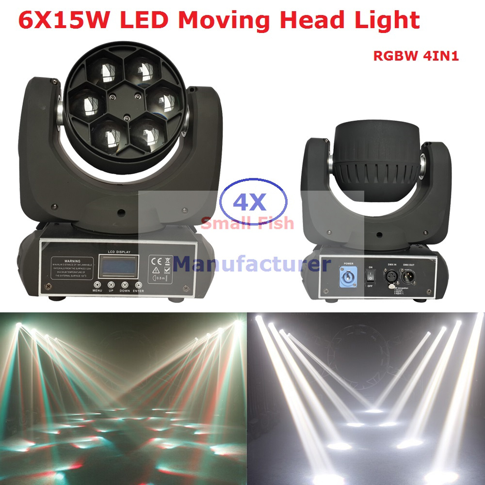 4Pcs/Lot New Design Led Mini Bee Eye Moving Head Beam Light 6X15W RGBW Professional Stage Lighting LCD Display Fast Shipping автоинструменты new design autocom cdp 2014 2 3in1 led ds150