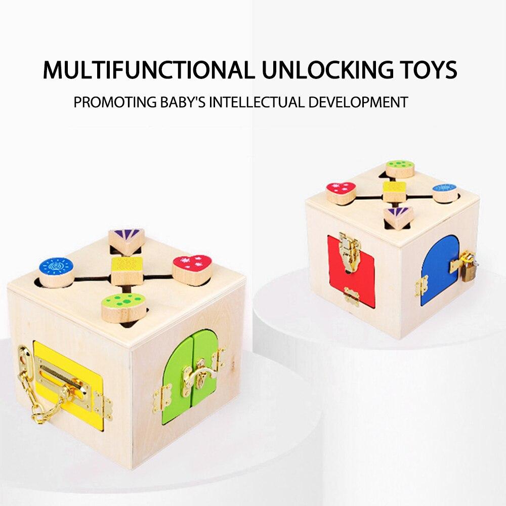 Jouets Montessori en bois boîte de verrouillage pratique jouet Montessori matériaux éducation jouets sensoriels en bois 3 ans enfants jeux cadeaux - 5