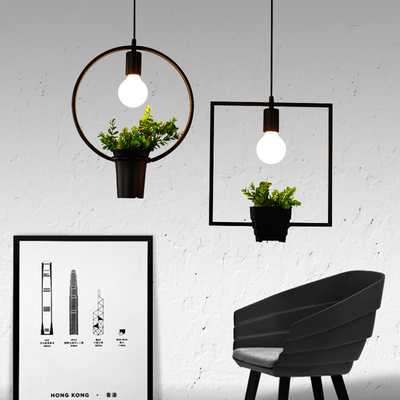цены Modern Wrought Iron Flower Pot Plants Potted Studio Cafe Iron Frame Pendant Lamp