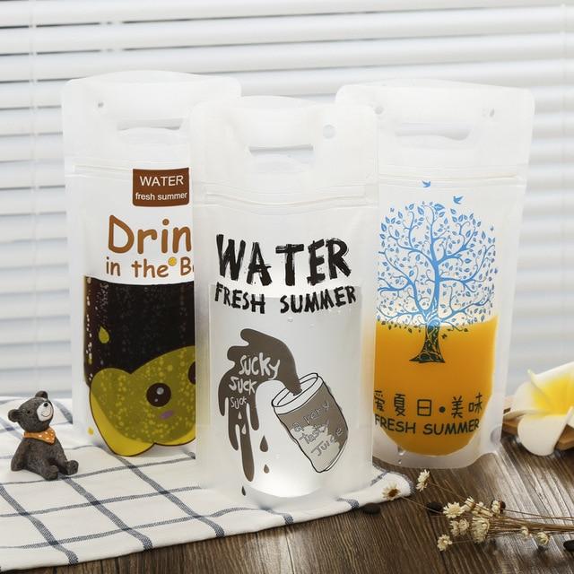100pcs Juice Beverage Bag Creative Disposable Frosted Transpa Zip Lock Portable Self Styled Milk Tea