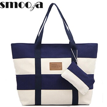 SMOOZA Women Beach Canvas Bag Fashion Color Stripes Printing Handbags Ladies Large Shoulder Bag Totes Casual Bolsa Shopping Bags