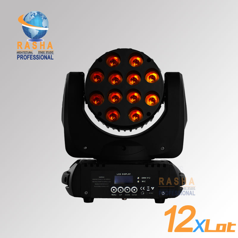 12pcs/ LOT Freeshipping Hot Sale 12pcs*10W CREE 4IN1 RGBW LED Moving Head Beam With LCD Display Power con&in,Stage Light