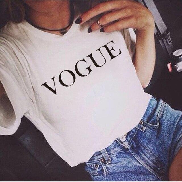 Moda marka lato T koszula kobiety VOGUE drukowane koszulki damskie kobiety O-neck topy koszulkę Femme Harajuku odzież codzienna
