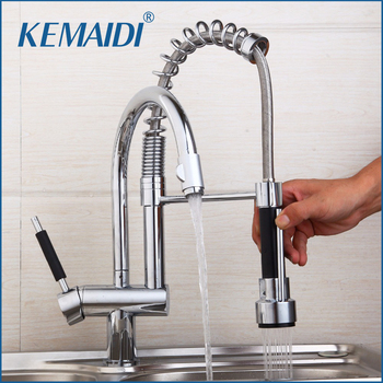 KEMAIDI  Kitchen Mixer Valve Water Taps Pull Out Design Kitchen Sink Faucet Chrome Sink Faucet Two Functoin Use Deck Mounted