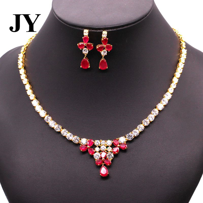 JY New Fahsion Gold Color Red Stone Party Earring Elegant Necklace Charm VintageBest Love Gift For Friend Luxury Jewelry Set