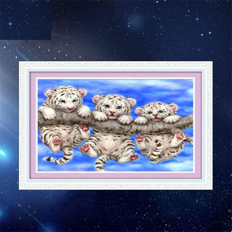 Hot 5D Full diamond painting cross stitch Three tigers diamant embroidery needle patch rhinestone mosaic kit