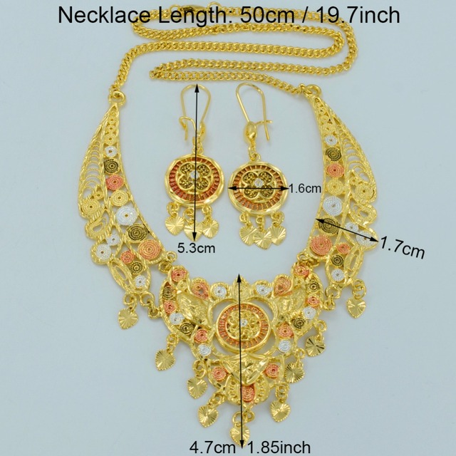 Arab Jewelry sets Dubai Necklace Earrings Mix Color Gold Plated Middle East Wedding Jewellery Egypt/Turkey/Iraq/Africa #007912
