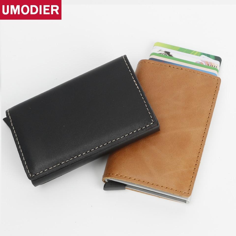 Umodier Rfid Wallet Men small Genuine Leather Cardholder Vintage Crazy Horse Credit Card Holder Slim Mini Purse Aluminium Case wallet