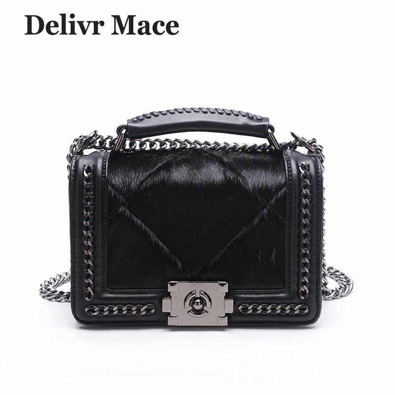 Luxury Handbags Women Bags Designer 2018 Fur Black Chain Small Shoulder Bag Female Crossbody Messenger Bag Rock Female Handbag цена 2017