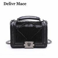 Luxury Handbags Women Bags Designer 2018 Fur Black Chain Small Shoulder Bag Female Crossbody Messenger Bag Rock Female Handbag