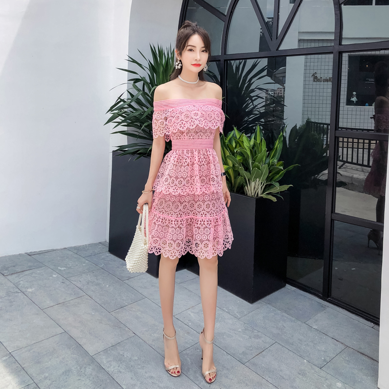 6e795f466b7e Sweet Pink Off Shoulder Floral Hollow Out Lace Ruffles Mini Dress For Women  Summer 2019 High Quality Self Portrait Dress