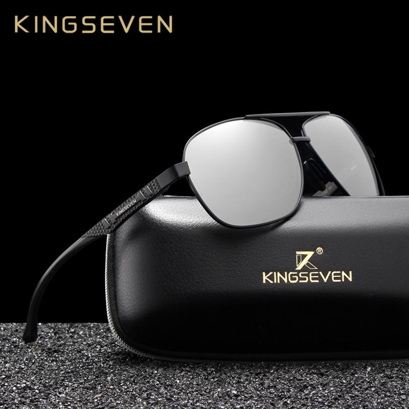 Image 2 - KINGSEVEN Women Men Sunglasses Polarized Mirror Lens Vintage Eyewear Driving Sun glasses Aluminum Temple Gafas de sol Masculino-in Men's Sunglasses from Apparel Accessories