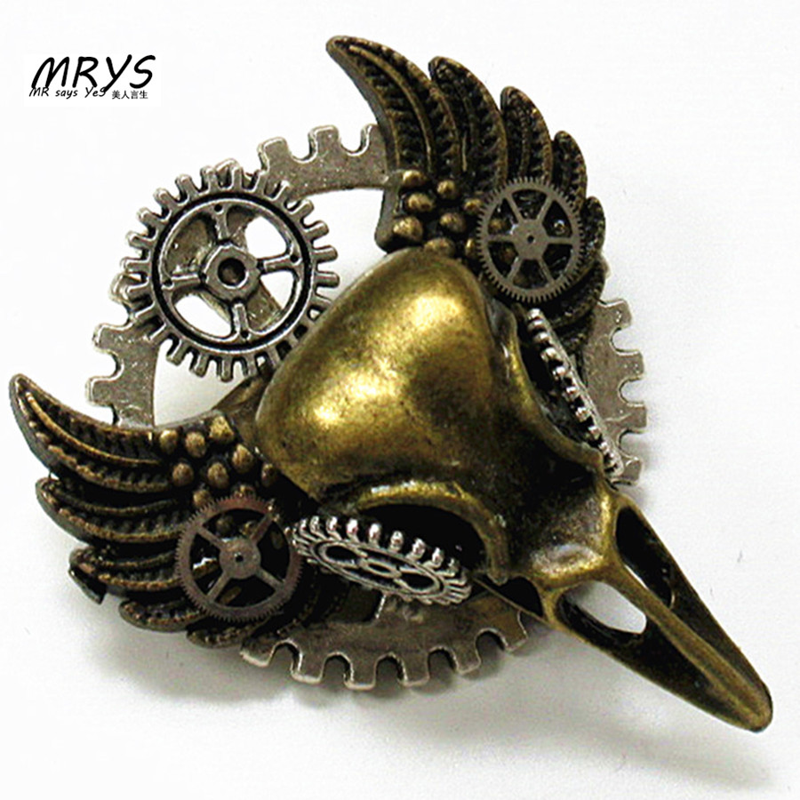 steampunk jewelry gothic bird skull head wings gear collar brooch pins badge metal men women fashion vintage jewelry cool DIY