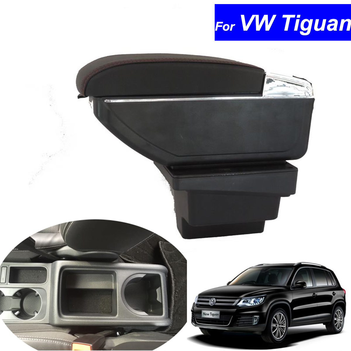 Leather Car Armrest Center Console Storage Box Auto Accessories Decoration for Volkswagen VW Tiguan 2009 ~ 2016 Free Shipping car rear trunk security shield cargo cover for volkswagen vw tiguan 2016 2017 2018 high qualit black beige auto accessories