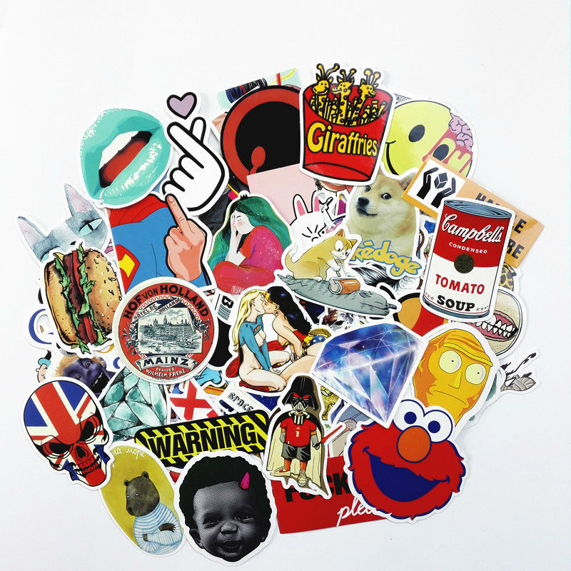 100pcs/pack DIY waterproof funny laptop car sticker for trunk skateboard guitar fridge decal random mixed toy stickers