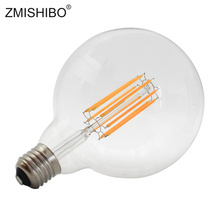 ZMISHIBO LED Filament Bulb 110V/220V 8W 10W G125 G95 G80 A60 E27 Warm White Clear Glass Global Light Ball Lamp D95*H135mm
