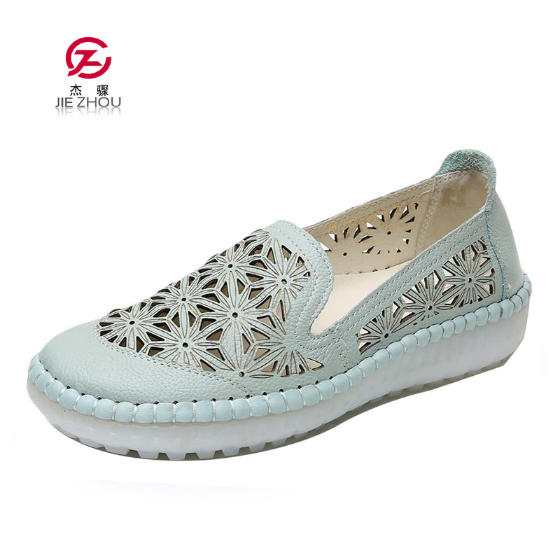 Ballet Flats Summer Women Genuine Leather Shoes Woman Soft Bottom Hollow out Shoes Slip on Breathable