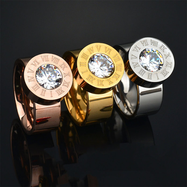 New Arrive Trendy Exchange 7 Colors Big CZ Stone Ring 316l Engraving Stainless S