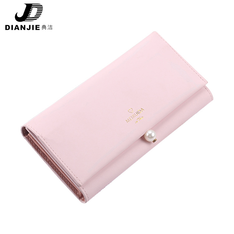 DIANJIE New Womens Wallet Pearl hasp Multi Functional Fashion Money Purse Long Hand Holding Korean Version Of Womens Wallets