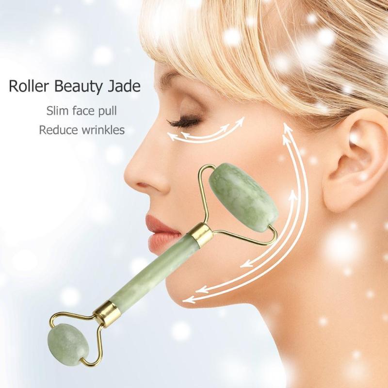 1 шт., натуральный косметический массаж лица с двойной головкой, инструмент для лифтинга лица с нефритовым роликом, против морщин, тонкие массажные инструменты для расслабления лица