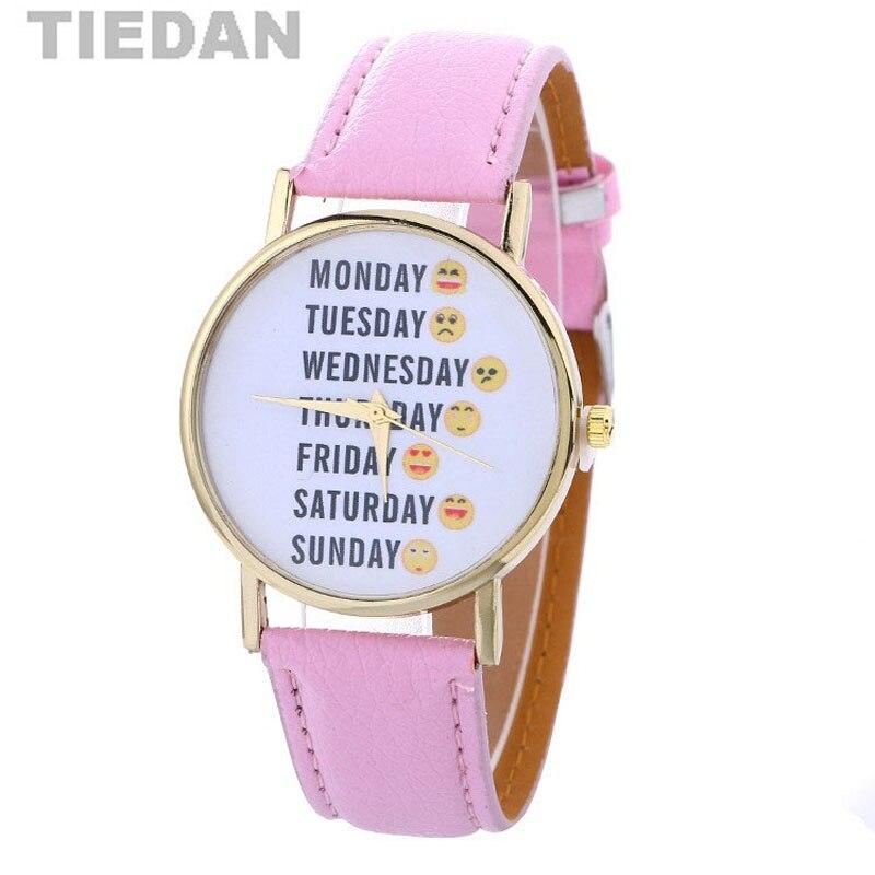 fd495b20615c Tiedan marca sonrisa sonriente caras patrón reloj de pulsera de cuarzo  relojes de señoras de las mujeres mejores regalos para las niñas