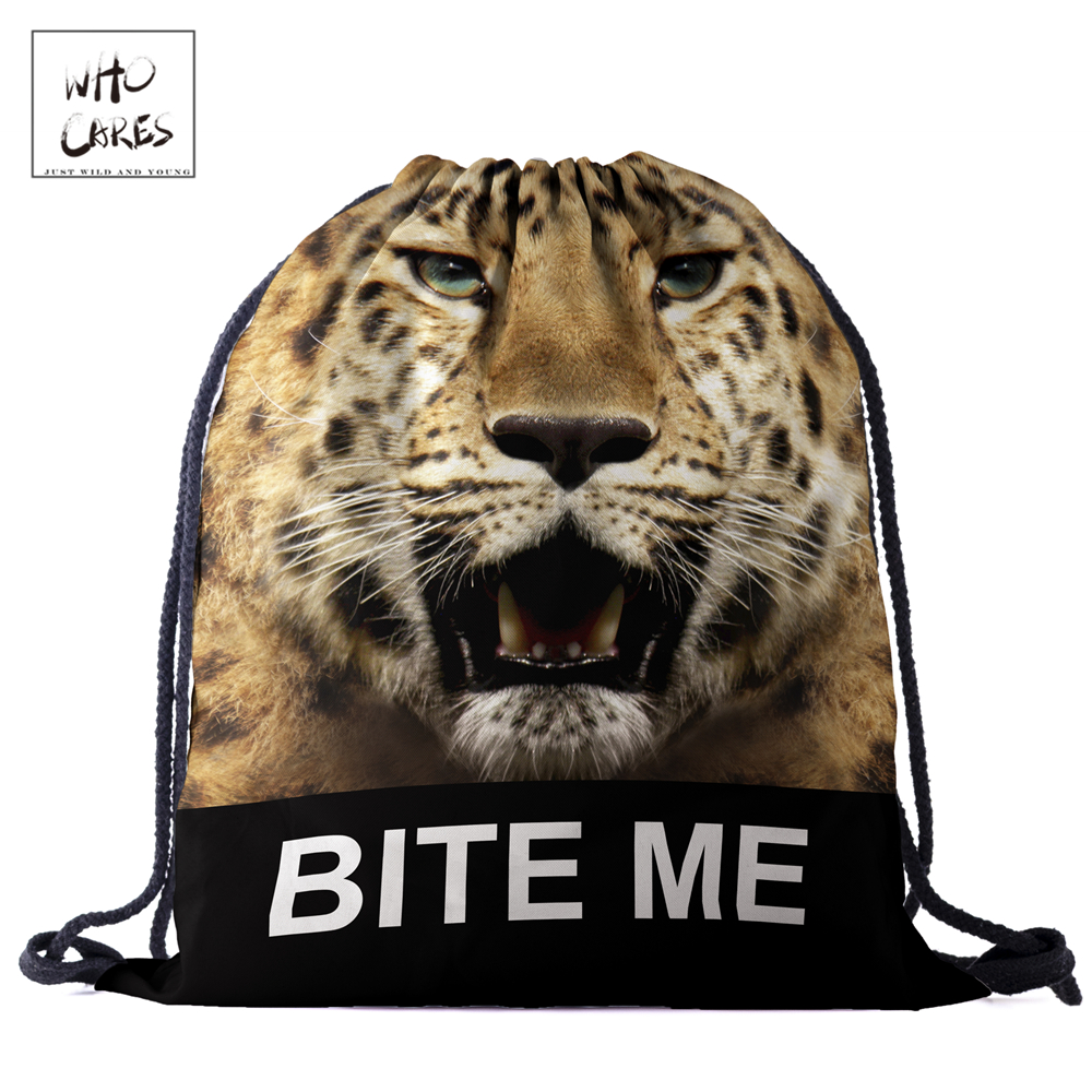 WHO CARES New Fashion Backpack  Ferocious Leopard 3D Printing Travel Softback Bag Drawstring Bag Portable Backpacks