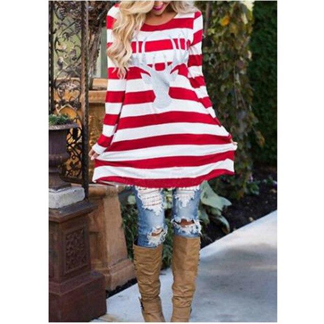 b60694ff36b New Printed DEER Christmas T Shirt For Women Long Sleeve Red Whites Striped T  Shirts Tops Long Blusas Tee Shirts
