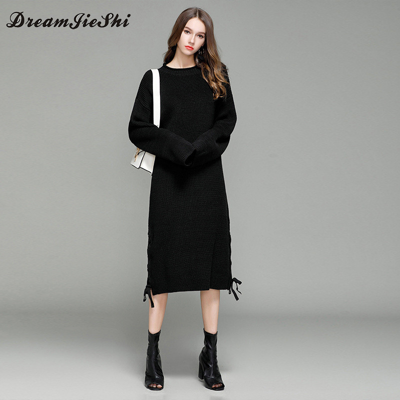 Dreamjieshi Women winter warm Knit Loose Straight Mid Calf Dress Casual Autumn Long Knitted Pullover Female sweater over size multic femme skullies autumn beanies winter warm chapeau women hat female knitted cap ladies bonnet