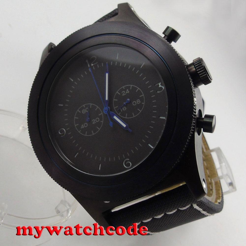 big sale 52mm parnis black dial big face PVD Full chronograph quartz mens watch