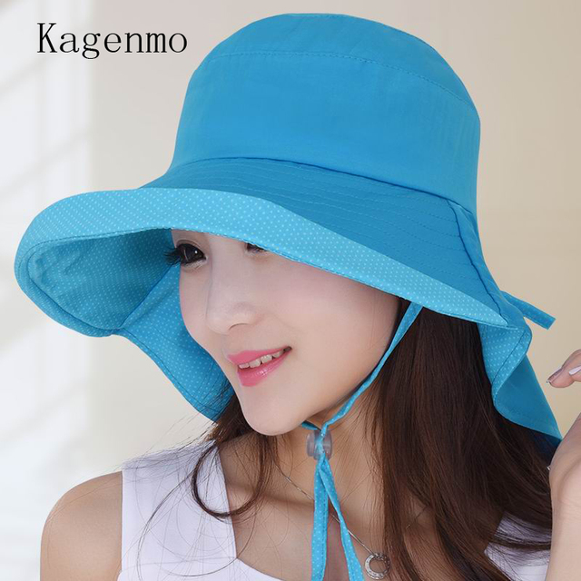 92f24b7871e Kagenmo New Brand Fashion Sunhat Female Summer Anti-Uv Cap Women Cotton Sun  Shade Big