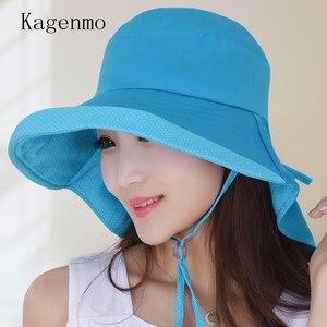 Kagenmo New Brand Fashion Sunhat Female Summer Anti-Uv Cap Women Cotton Sun Shade Big Brim Visor