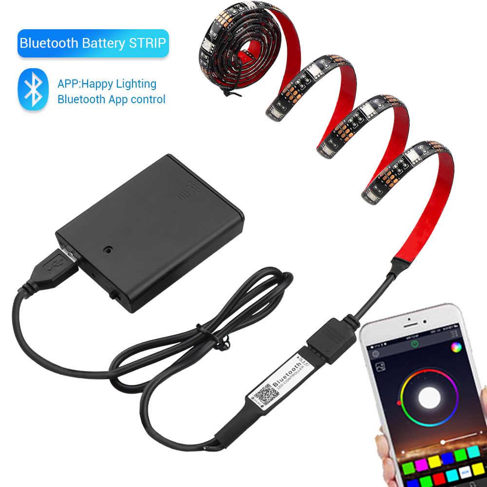 Светодиодная лента с питанием от аккумулятора Bluetooth 5050 RGB 1 м 2 м IP20 IP65 USB Светодиодная лента 17 клавиш лента-тесьма со светодиодами струнная подсветка ТВ ПОДСВЕТКА