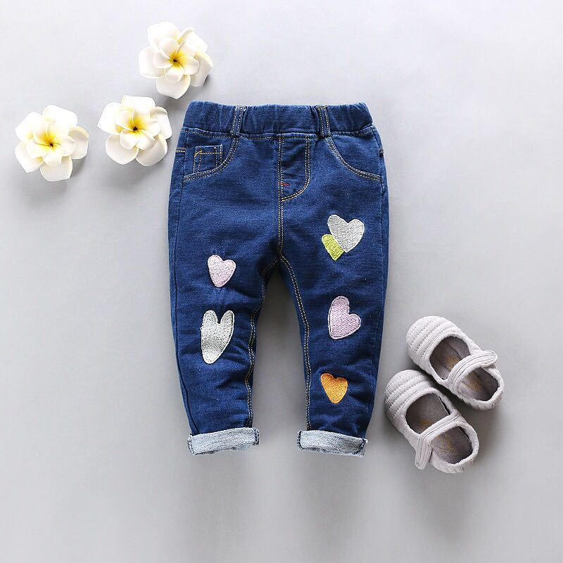 Newborn Baby Girls Pants 2018 New Spring Autumn Korean Casual Lovely Middle Elastic Waist Jeans Clothing Children Trousers 4j008