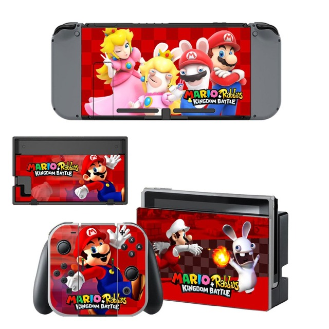 Nintend Switch Vinyl Skins Sticker For Nintendo Switch Console and Controller Skin Set - For Mario + Rabbids: Kingdom Battle 2
