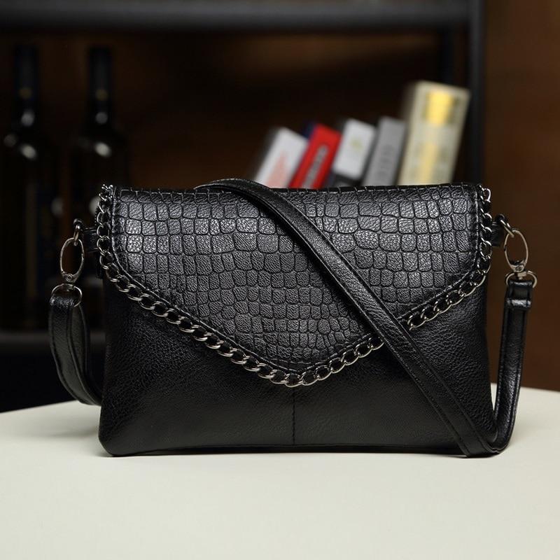 Chain Women Fashion Leather Plaid Flap Bag Female Alligator Pattern Handbags Lady Shoulder Bags Straps Totes Envelope Bag Clutch