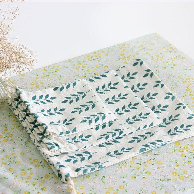 Sac à cordon en lin de coton doux imprimé oreille de blé littéraire feuilles femmes stockage à la maison petit porte-monnaie de voyage pochette de téléphone Portable
