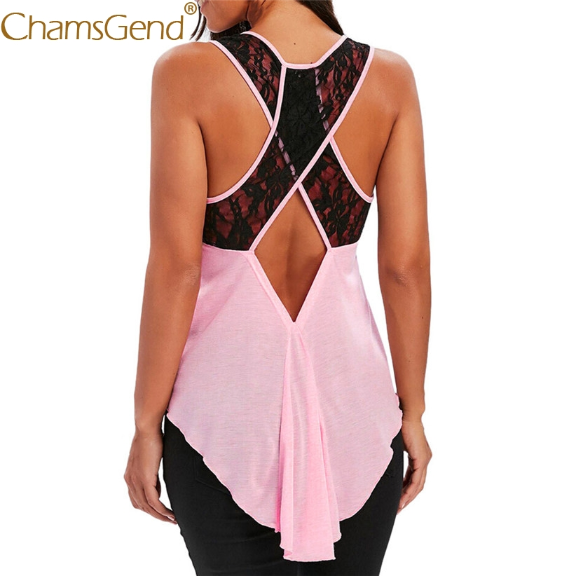 Free Shipping Women Fashion Cross Lace Back Pink   Tank     Top   Irregular Long Shirt 80515 Drop Shipping