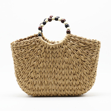 Fashion Ladies Straw Bags Handmade Vintage Weaving Beaded  Handbag New Rattan Bag Bohemian Style Women Summer Beach