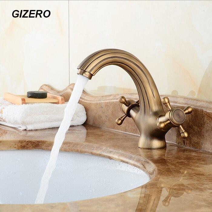 Dual Handle Bathroom Basin Faucet Antique Bronze Finish Classic Faucet deck mounted hot&cold mixer torneira ZR179