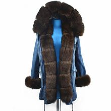2018Women's Natural Fox Fur Jacket Real Fox Fur Denim Coat Medium long autumn and winter party to overcome with hat fashion to(China)