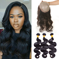 360 Lace Virgin Hair With 3 Bundles Body Wave With 360 Lace Frontal Brazilian Virgin Hair With Lace Frontal 360 Grade 8a