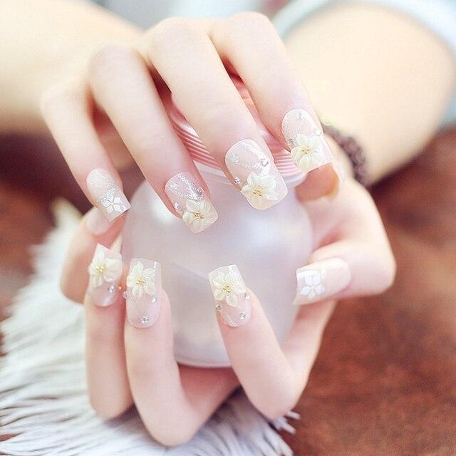 Medium False Nails Natural Pink Acrylic Fake Nails 3D Flower Beads ...